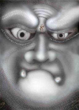 Ewa Hadydoń, Fudo Myoo, sanskrypt Acala Vidyaraja, 38 x 26,9 cm, airbrush, długopis, biały i złoty tusz.jpg