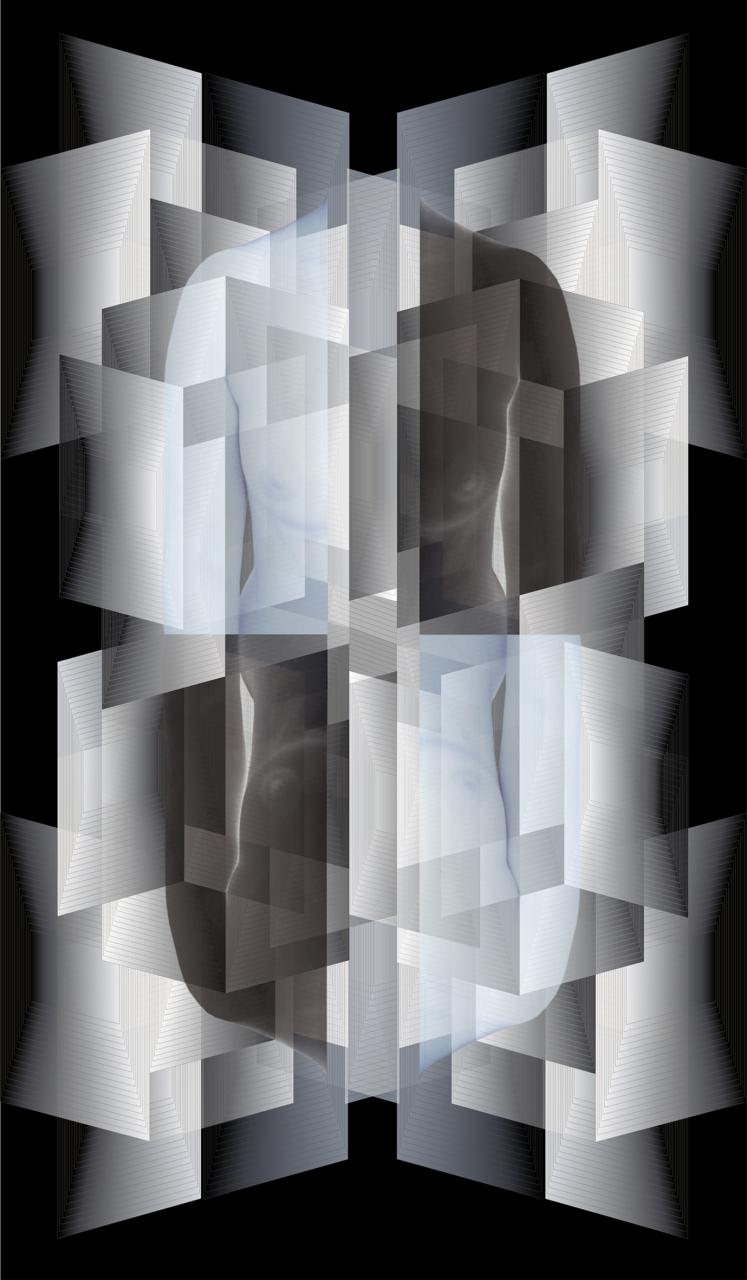 -  Monika Pałka, BEZ TYTUŁU z cyklu CZARNE BIAŁE, druk cyfrowy 120 x 70 cm,  2017