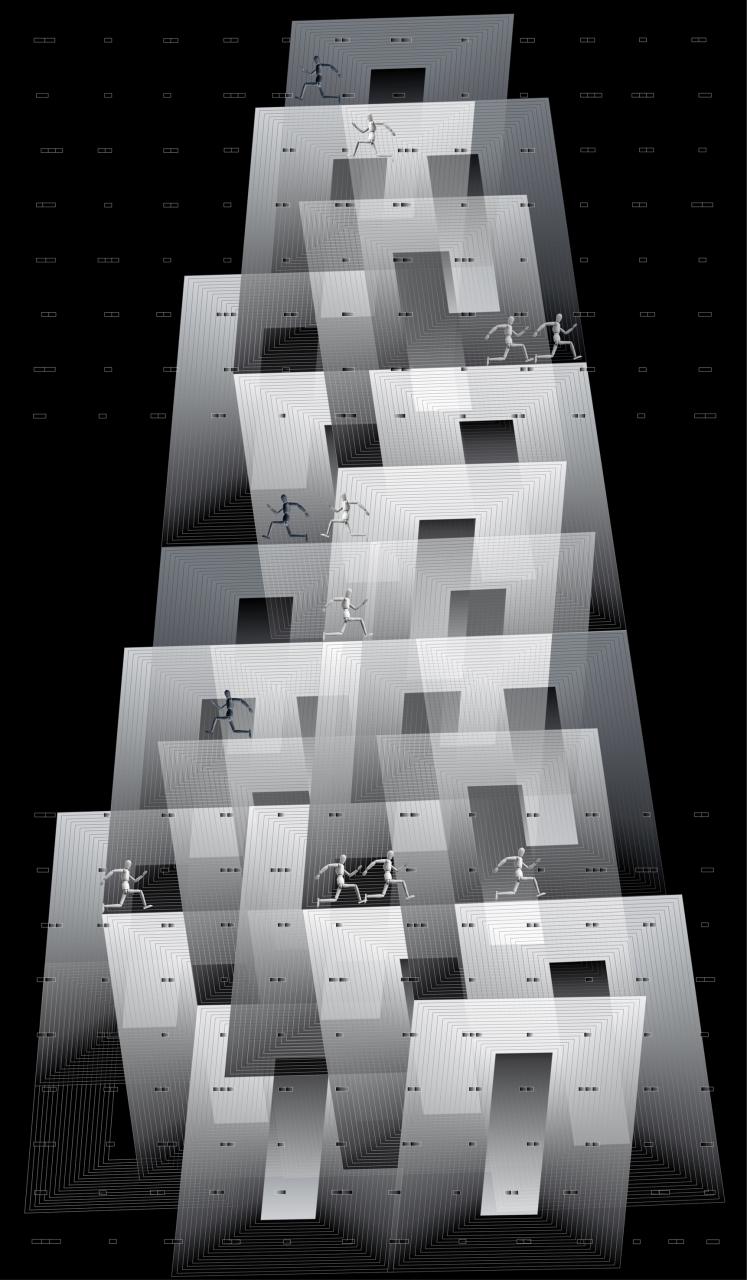 - Monika Pałka, WIEŻA, druk cyfrowy, 120 x 70 cm, 2018